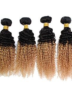 "3Pcs/Lot Top Quality Brazilian Jerry Curly Ombre  Human Hair Extension 1B/27  Weave 12""-24"""