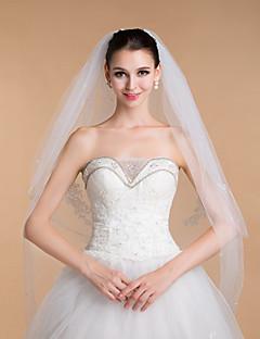 bröllop slöjor kvinnors eleganta tyll rhinestone dualistiska ringvulstkant slöjor