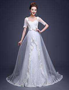 웨딩 드레스 시스/컬럼 쿼트 트레인 퀸 앤 튤