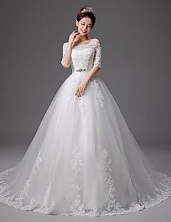 A Line Sweetheart Ball Gown Chapel Court Train Wedding Dress