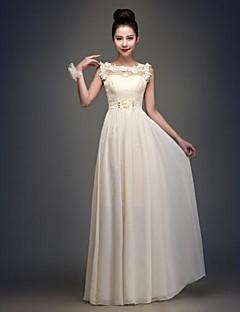 신부 들러리 드레스 A라인 바닥 길이 바토 쉬폰