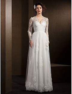 Lanting Bride® A-line Petite / Plus Sizes Wedding Dress See-Through Wedding Dresses Floor-length V-neck Lace / Tulle with