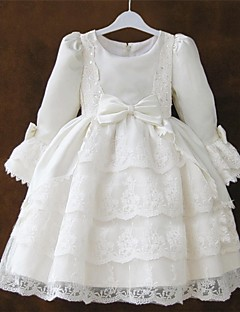Flower Girl Dress - Princesa Coquetel Manga Comprida Renda/Cetim