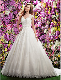 Lanting Bride® A-line Petite Wedding Dress Chapel Train V-neck Lace with