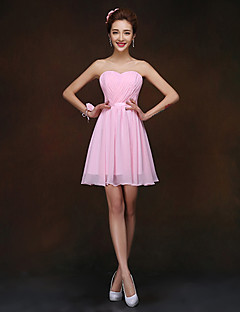 Short/Mini Bridesmaid Dress - Blushing Pink Sheath/Column Sweetheart