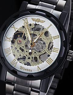 WINNER Masculino Relógio de Pulso relógio mecânico Gravação Oca Mecânico - de dar corda manualmente Aço Inoxidável Banda Preta