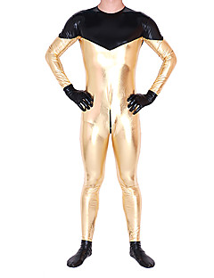 Golden and Black Full Body Shiny Mental Unisex Zentai Suit
