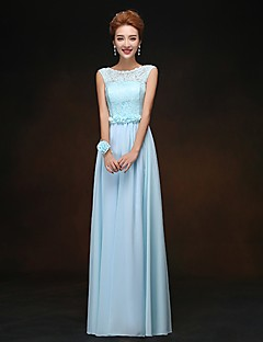 Floor-length Chiffon Bridesmaid Dress - Sheath / Column Scoop with