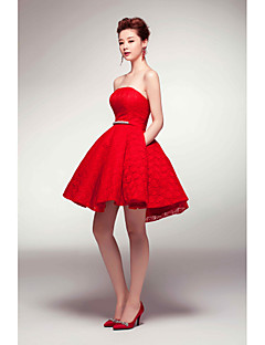Cocktail Party Dress - Ruby A-line Strapless Short/Mini Satin