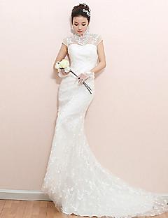 웨딩 드레스 - 화이트 트럼펫/멀메이드 쿼트 트레인 하이넥 레이스
