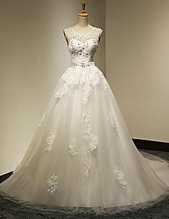 웨딩 드레스 - 화이트&샴페인(색상은 모니터에 따라 다를 수 있음) 볼 가운 채플 트레인 스윗하트