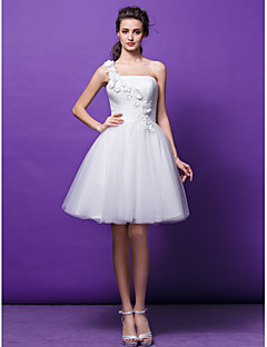 Lanting Bride® Ball Gown Petite Wedding Dress Knee-length One Shoulder Tulle with