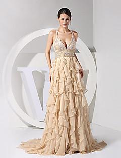 Formal Evening Dress - Champagne Sheath/Column V-neck/Straps Chiffon