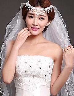 여섯층 - 레이스처리된 가장자리 손가락 베일 새해장식 )