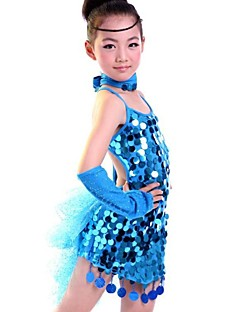 Latin Dance Children's Polyester/Lycra Performance Sequins/Tassel Dress(Black/Blue/Fuchsia/Red) Kids Dance Costumes