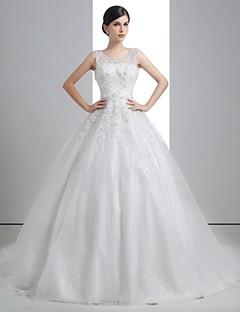 A-line Wedding Dress - White Floor-length Scoop Linen