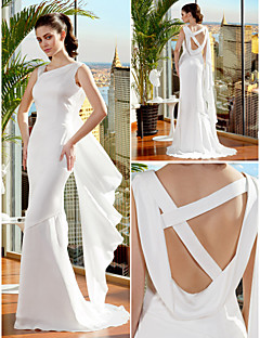 Trumpet/Mermaid Wedding Dress - Ivory Sweep/Brush Train Straps Chiffon