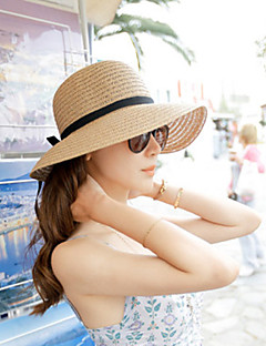 Women's Solid Beige/Light Brown Straw Hat,Beach/Casual Belt Decorated