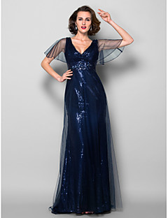 Sheath/Column Plus Sizes / Petite Mother of the Bride Dress - Dark Navy Sweep/Brush Train Short Sleeve Tulle / Sequined