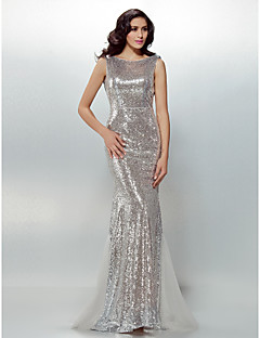 TS Couture® Formal Evening Dress - Beautiful Back Plus Size / Petite Trumpet / Mermaid Jewel Sweep / Brush Train Sequined with Sash / Ribbon