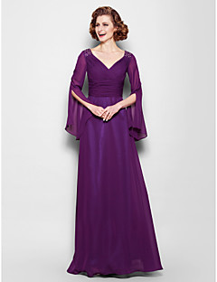A-line Plus Sizes / Petite Mother of the Bride Dress - Grape Floor-length Long Sleeve Chiffon