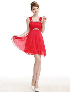 Wedding Party Dress A-line Straps Knee-length Satin Dress