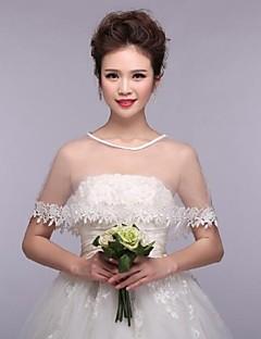 결혼식은 capelets 민소매 레이스 흰색 랩