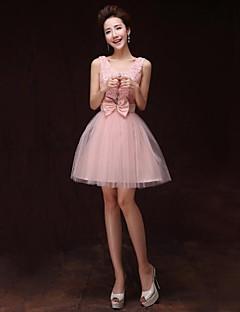 Cocktail Party Dress - Pearl Pink A-line V-neck Knee-length Satin