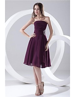Formal Evening Dress - Grape Plus Sizes / Petite A-line Strapless Short/Mini Chiffon