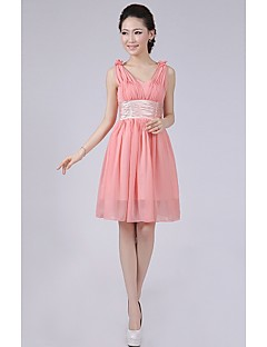 Short/Mini Bridesmaid Dress - Watermelon A-line / Princess Straps