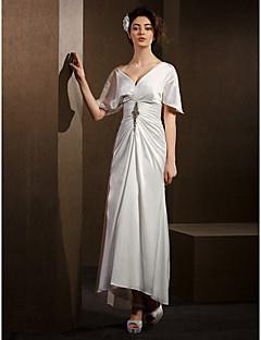 Sheath/Column Wedding Dress - Ivory Asymmetrical V-neck Satin Chiffon