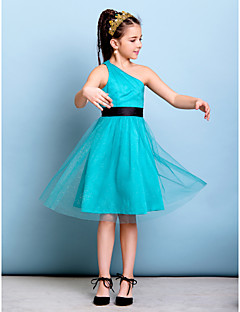Lanting Bride® Knee-length Tulle Junior Bridesmaid Dress A-line One Shoulder with Sash / Ribbon