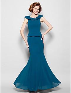 Lanting Bride® בתולת ים \ חצוצרה פלאס סייז (מידה גדולה) / פטיט שמלה לאם הכלה  עד הריצפה ללא שרוולים ג'ורג'ט - כיווצים למעלה