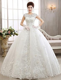 Ball Gown Wedding Dress Floor-length Jewel Lace with Beading / Appliques