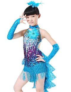Gyermek - Latin tánc/Teljesítmény - Felszerelések (Kék/Piros/Sárga , Poliészter/Lycra , Flitterek/Bojt(ok))