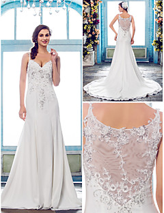 Trumpet/Mermaid Plus Sizes Wedding Dress - Ivory Court Train Spaghetti Straps Chiffon/Lace