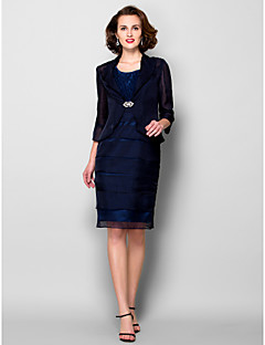 Lanting Sheath/Column Plus Sizes / Petite Mother of the Bride Dress - Dark Navy Knee-length 3/4 Length Sleeve Chiffon / Taffeta
