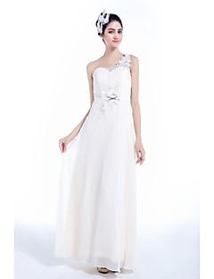 A-line Floor-length Wedding Dress -One Shoulder Chiffon