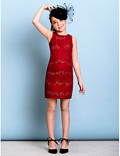Lanting Bride® Short / Mini Lace Junior Bridesmaid Dress Sheath / Column Jewel with Beading / Sequins