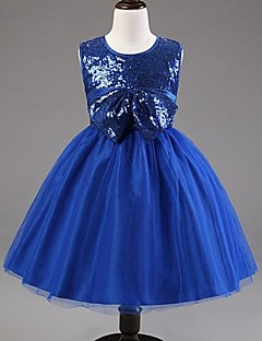Ball Gown/Askunge/Prinsess - Knälång - Flower Girl Dress ( Satäng/Tyll ) - Bateau/Båtringning/Juvel
