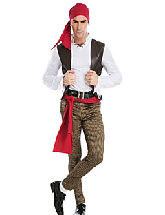Cosplay Costumes / Party Costume Pirate Festival/Holiday Halloween Costumes Red Solid / Patchwork Coat / Blouse / Pants / BeltHalloween /