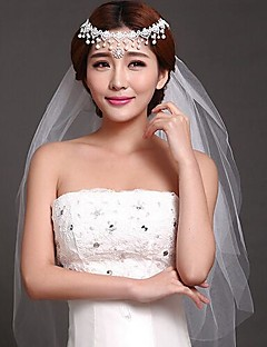 Three-tier - Lace Applique Edge Fingertip Veils Applique )
