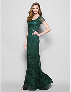 Lanting Sheath/Column Plus Sizes / Petite Mother of the Bride Dress - Dark Green Floor-length Short Sleeve Lace