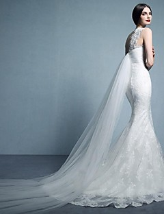 Trumpet/Mermaid Sweep/Brush Train Wedding Dress -Bateau Tulle
