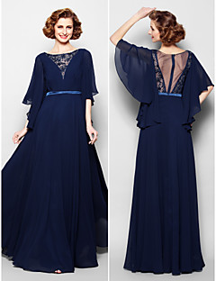 Lanting A-line Plus Sizes / Petite Mother of the Bride Dress - Dark Navy Floor-length Half Sleeve Georgette / Lace