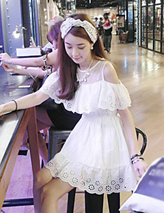 Mscoo Cotton Lace Fresh Sweet Preppy Chic Lotus Leaf Edge Bottoming Dress Bottoming Dress