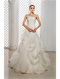 A-라인 퍼티트 / 플러스 사이즈 웨딩 드레스 코트 트레인 끈없는 스타일 오간자 / 새틴 와