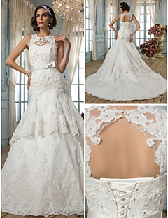 Trumpet/Mermaid Wedding Dress - Ivory Court Train Jewel Satin/Lace