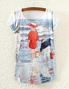 Färgblock Kortärmad T-shirt Kvinnors Rund hals Bommulsblandning