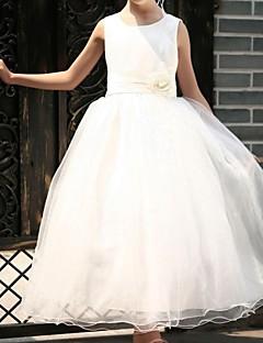Galajurk/Prinses - Scoop - Bloemenmeisje jurk ( Satijn/Tule ) - Vloer Lengte